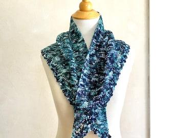 Hand Knit Kerchief Merino Wool in Blue Green Purple White/ Small Size Triangle Scarf
