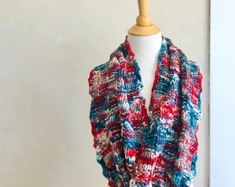Hand Knit Scarf Hand Dyed Superwash Merino Wool Bright Teal Blue Ruby Red White Original Design Knitwear