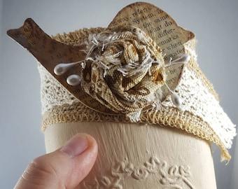 Shabby chic mason jar burlap bird handmade flower for organizing and home decor