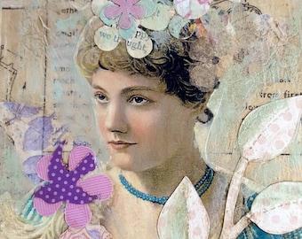 Unique handmade collage shabby cottage girly purse key hanger hook pastels florals vintage photo