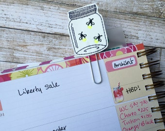 Firefly planner clip ~ mason jar bookmark ~ planner accessories ~ lightning bug feltie ~ firefly paperclip ~ planner paperclip