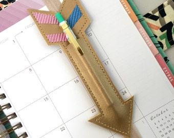 Arrow Planner band - Planner pen holder rose quartz - Planner band pocket - Gold arrow pen pocket