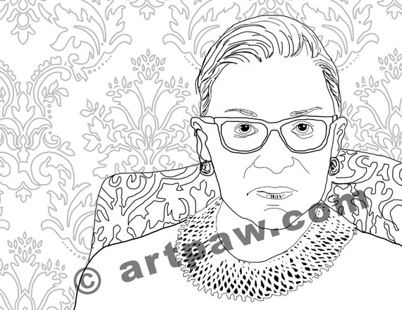 Female Heroes Coloring Book Page Instant Download Rbg Ruth Etsy