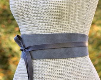 REVERSIBLE Genuine Leather • Suede and lambskin Gray wrap belt • XS S M L XL • petite + plus size • Obi belt • Cinch Belt • Grey