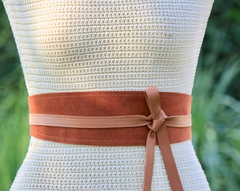 REVERSIBLE Genuine Leather • Suede and lambskin Cognac Brown wrap belt • XS S M L XL • petite + plus size • Obi belt • Cinch Belt • Rust