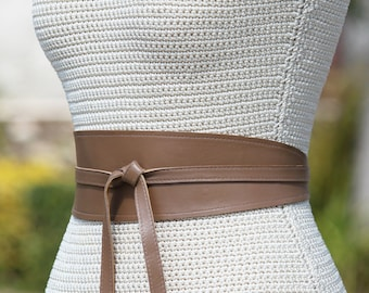 e4f0a3c93eeb REVERSIBLE Taupe   Beige   Light Brown • 2 sides Leather Sash Obi Wrap Belt  • XS S M L XL Petite   Plus Size • Convertible cinch belt