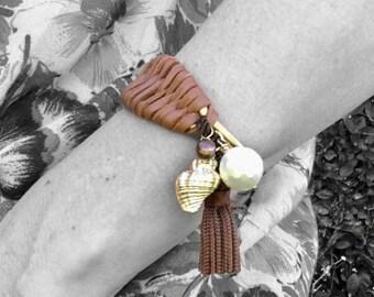 Modern Mermaid pearl + woven leather cuff bracelet • charm bracelet