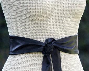 Leather Simple Sash • Wrap Belt • XS S M L XL • 3 Inch Wide Lambskin • Black Leather Sash