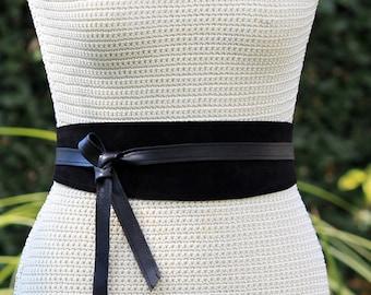 REVERSIBLE Genuine Leather • Suede and lambskin black wrap belt • bespoke • XS S M L XL • petite + plus size • Obi belt • Cinch Belt •