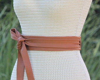 Leather Obi Wrap Belt • Long + Skinny • 2 inch wide leather sash • brown • caramel •  tobacco • double wrap