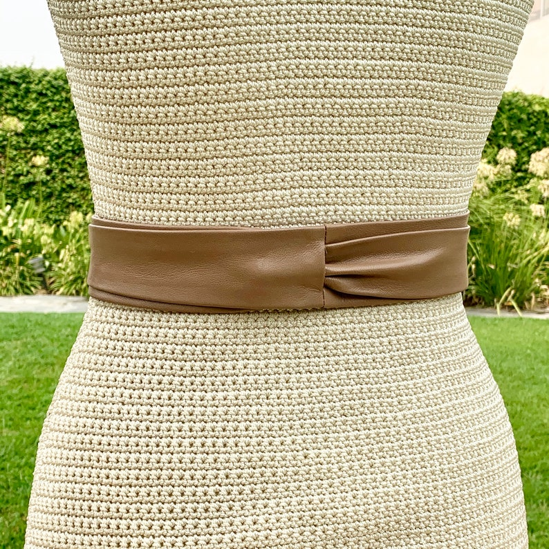 Skinny double wrap belt \u2022 light brown Taupe Leather Long