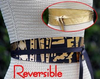 Genuine leather REVERSIBLE Gold + Black Obi Wrap Sash Belt • Size XS or S • Double sided metallic leather • Gold leather belt • Leather Sash