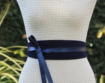 REVERSIBLE Genuine Leather • Suede and lambskin navy blue wrap belt • bespoke • XS S M L XL • petite + plus size • Obi belt • leather sash