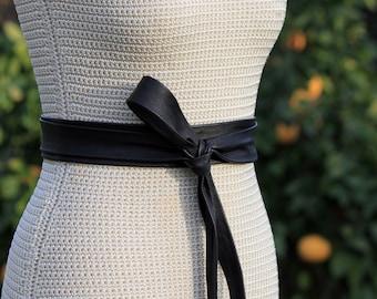 Black Leather Long + Skinny Obi • 2 inch wide long leather sash • double wrap belt