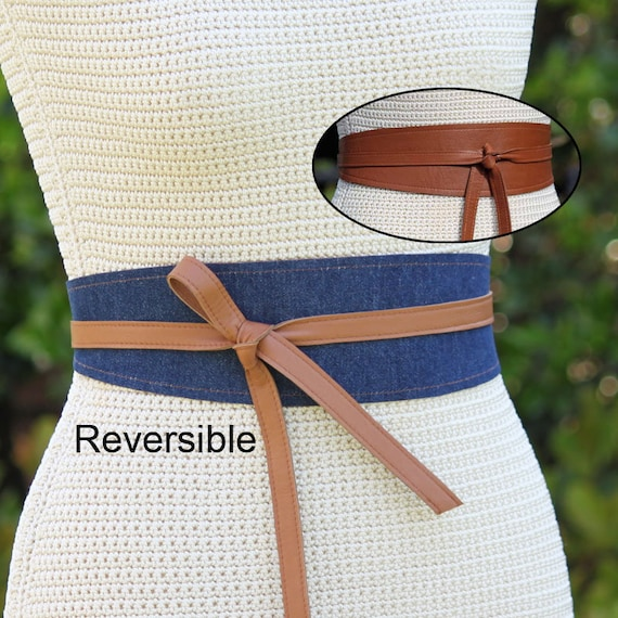 c3cba85b58 Leather Denim REVERSIBLE Wrap Belt obi style sash size