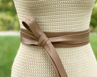 Taupe Leather Long + Skinny double wrap belt • light brown • beige wrap sash