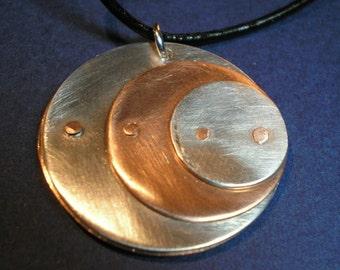 Riveted Circles Pendant - Reversible - Copper and Aluminum