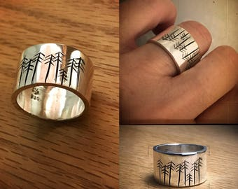 Family of Trees Argentium Sterling Ring
