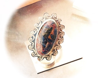 Crest - Pietersite Cabochon Ring in Solid Sterling Silver .925