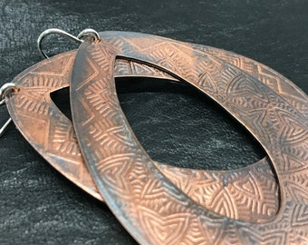 Copper Ovals. Textured, with Patina.
