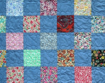 Patchwork Twin Size Quilt - Liberty of London Tana Lawn -  Girl Quilt  - Handmade Twin Quilt