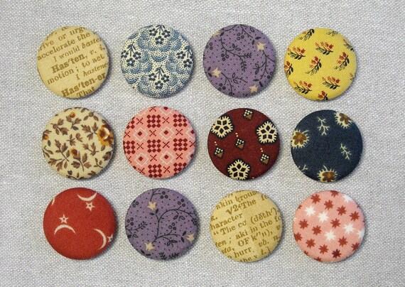 Aimants de bouton en tissu - lot de 12 - gravures de Reproduction du XIXe siècle