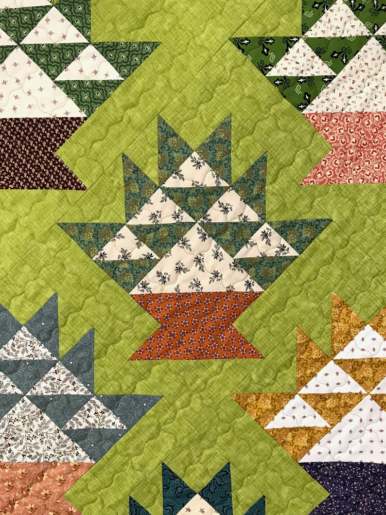 Cactus Basket Quilt and  Quilted Pillow Sham Patchwork Lap Quilt and Pillow Sham Set Nineteenth Century Reproduction Fabrics