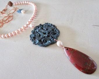 Mutter von Drachen Perlen geschnitzt Türkis Jasper NEXUS Halskette - Vintage - CatROCKS - Etsy Schmuck - Anmut und Frankie - Handwerker