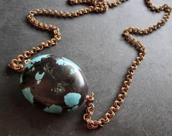 Dragon skin Kette aus Türkis ABACUS Vintage Messing - Statement - Etsy Schmuck - CatROCKS - Grace Frankie - Unikat - Petrol-schwarz - Bronze