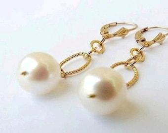 South Sea Pearl Earrings 24K Gold White Pearl Drop Earrings