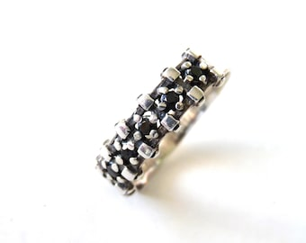 Black Diamond Ring Sterling silver Wedding Promise Band Ring Women Size 5.5