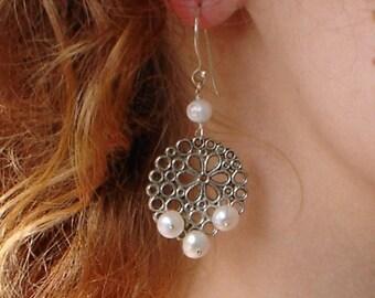 Freshwater Pearl Earrings Floral Honeycomb Sterling Silver Dangle earrings