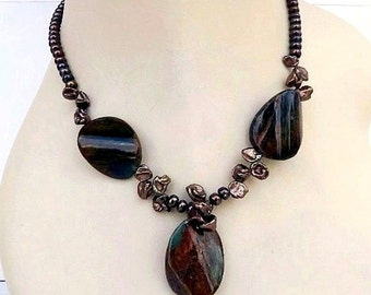 Pietersite Necklace and Earrings Set with Brown Freshwater Pearl
