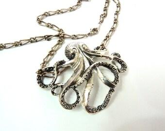 Octopus pendant Antique silver Filigree Steampunk Silver Chain necklace