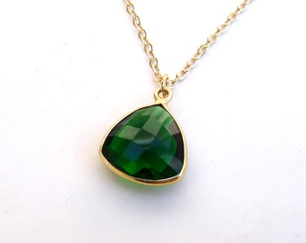 Emerald Pendant 14K Gold Bezel Faceted Teardrop with 14K Gold-Filled Chain Necklace
