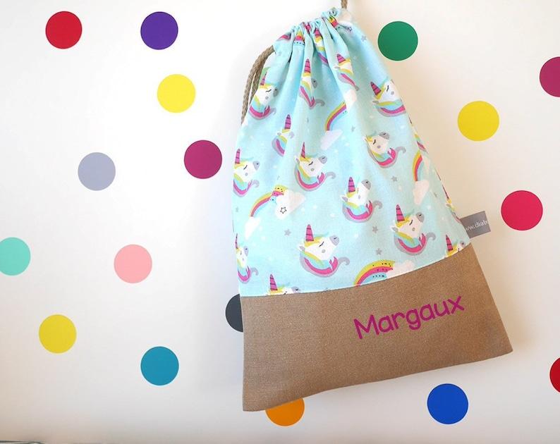 Customizable drawstring pouch  kindergarden  unicorn  blue image 0