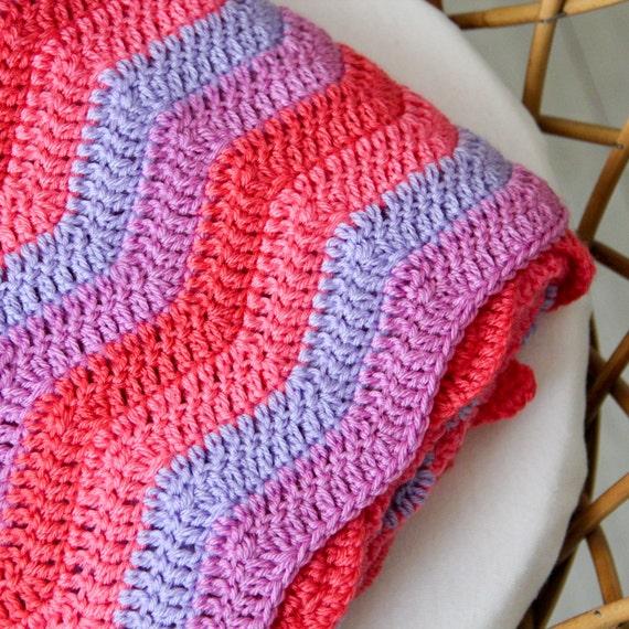 Baby blanket - crochet - chevrons - purple - pink - coral - crib - stroller / Barbapapa