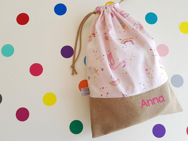 Customizable drawstring pouch  kindergarden  unicorn  pink image 0