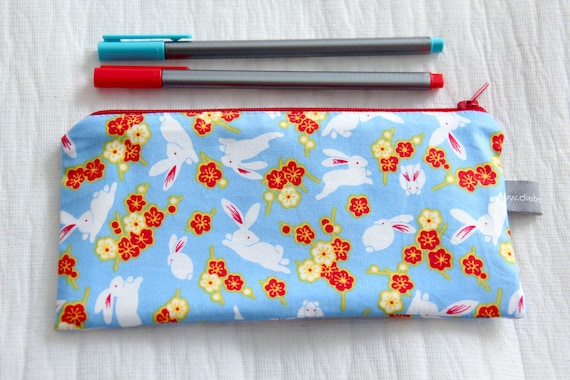 Pencil case - rabbits - bunnies - flowers - japan - blossom - blue - red - green - white - easter - jewelry - pencils - handbag - school