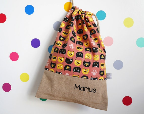 Customizable drawstring pouch - Cats - pink - yellow - black - animals - Child Name - cuddly toy bag - slippers bag - toys