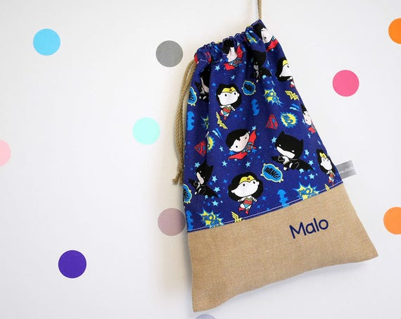 Customizable drawstring pouch - kindergarten - Super Heroes - Comics - Superman - Batman - Wonder Woman - cuddly toy - slippers - toys