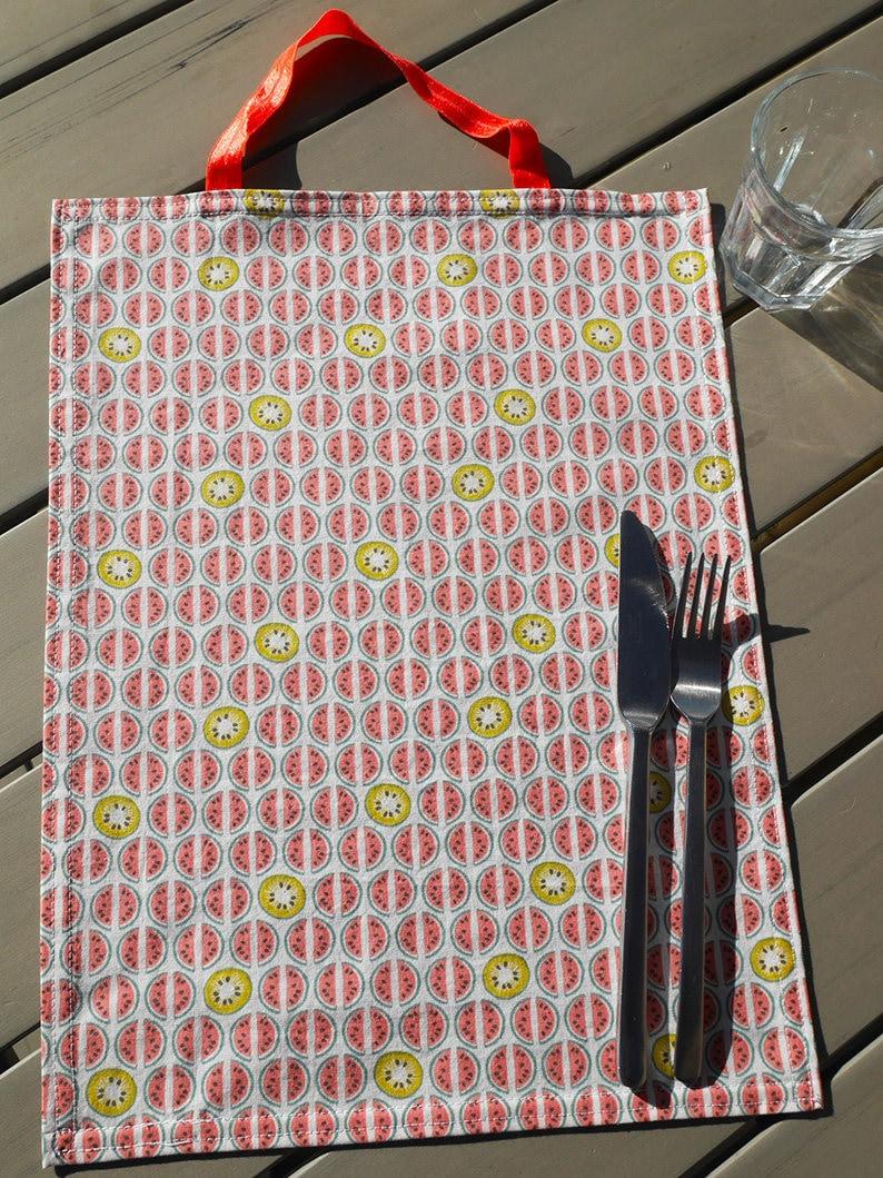 children school return to school green independence pink home kiwi elastic gift Napkin watermelon zero waste