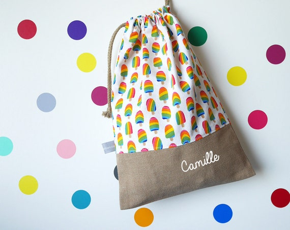 Customizable drawstring pouch - cuddly toy bag - name - kindergarten - popsicles - summer - rainbow - slippers or toys bag