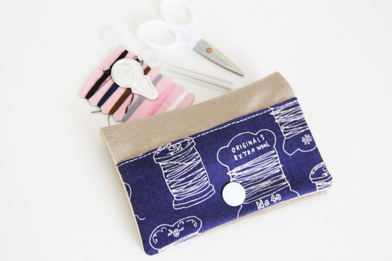Sewing kit - sewing - threads - white - blue - travel - threads - scissors - needle - pincushion - button - fixing - blue