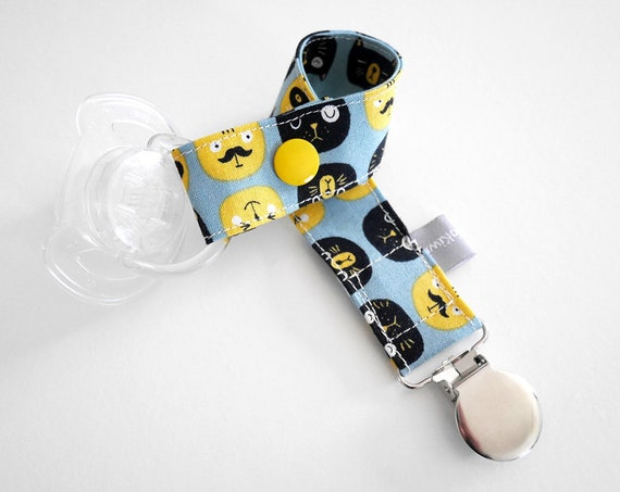 Pacifier clip - snap - enamel clip - cats - blue - yellow - black - mustache - funny cats - useful - baby shower - baby gift - dummy