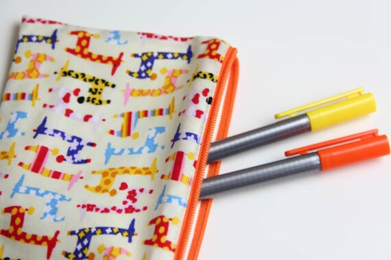 Pencil case - Zipper pouch - giraffes - multicolor - yellow - orange - blue - toys - jewelry - pencils - handbag - gift - girl or boy