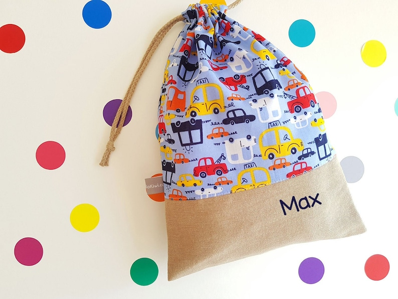 Customizable drawstring pouch  kindergarden  vehicles  taxi image 0