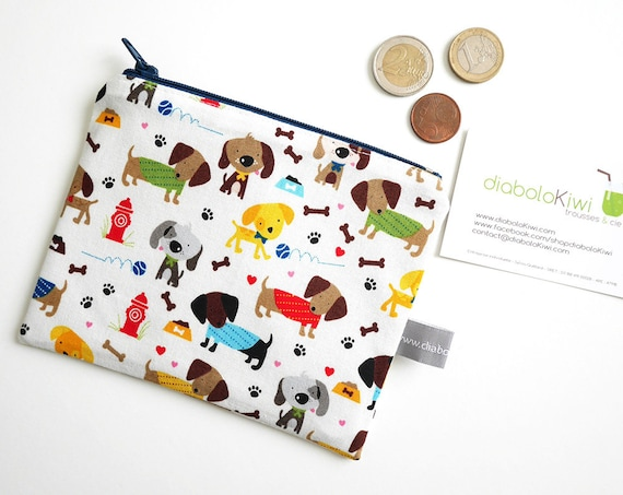 Coin purse - mini zippered pouch - dogs - puppies - stars - navy blue - colorful - handbag - bag - purse - gift for girls - Christmas