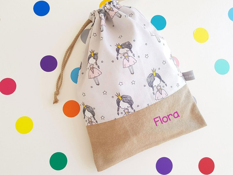 Customizable drawstring pouch  cuddly toy bag  name  image 0