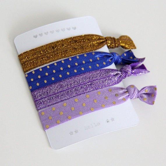 Set of 4 hair ties - elastics - no crease hair ties - stretch bracelets - dots - gold - blue - purple  - party favor gift - summer - dK08